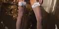 White Thigh High Fishnet With Bow