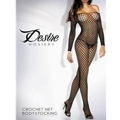 Long Sleeve Crochet Net Body Stocking Black Queen