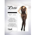 Floral Lace Deep-V Front Bodystocking Blk Queen