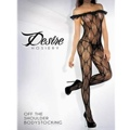 Bow Pattern Bodystocking With Off Shoulder Ruffle Queen