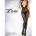 Floral Lace Deep-V Front Bodystocking Blk Os