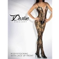 Floral Lace Body Stocking With Satin Ribbon Black O/S
